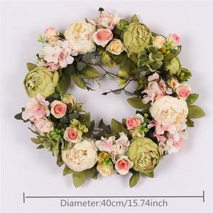 Image 3 - 複数のスタイルシルク牡丹人工花花輪ドア完璧な品質シミュレーション花輪結婚式ホームパーティーの装飾