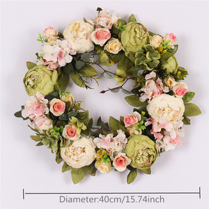 Image 3 - multiple styles Silk Peony Artificial Flowers Wreaths Door Perfect Quality simulation Garland For Wedding Home Party decoration