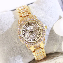 New Hot Sale Watch List Full Diamond Brand Female Fashion & Casual  Bracelet Clasp Chronograph Hardlex