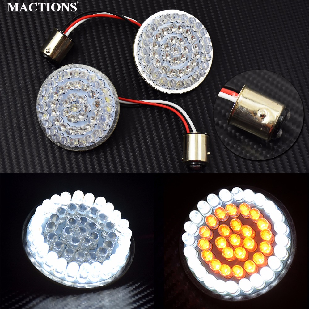 MACTIONS 2 Bullet Style 1157 Turn Signal Light LED Panel For Harley Sportster 883 1200 XL Softail Dyna 11-17 Touring Tri Glide