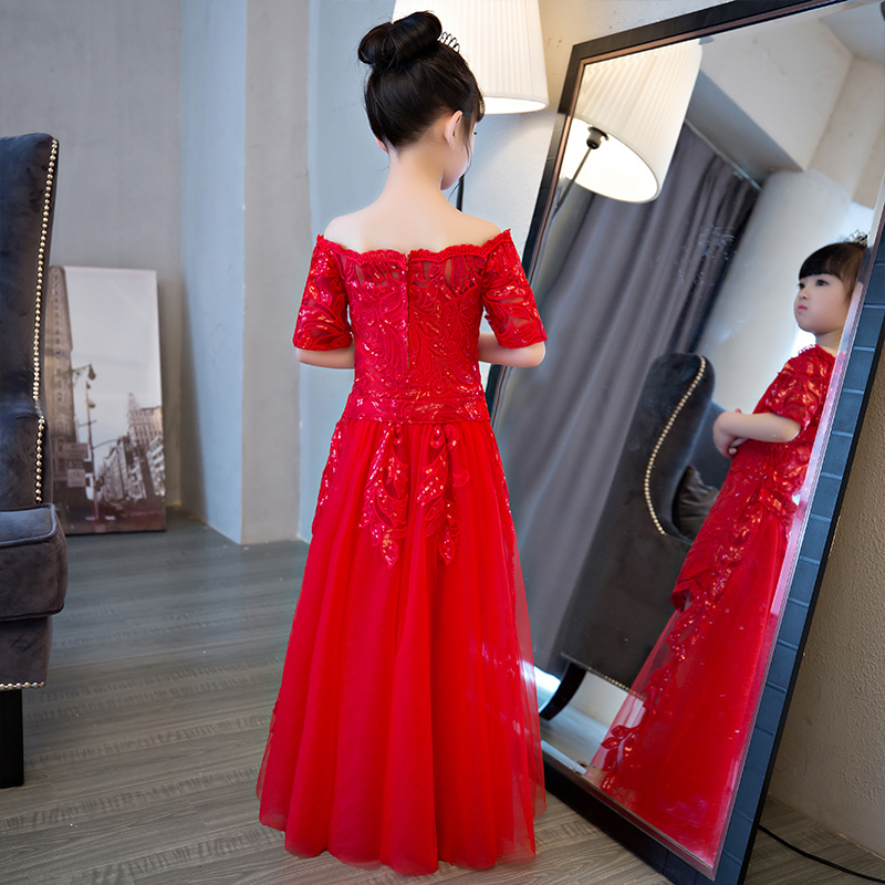 Tailing Detachable Flower Girl Dresses Appliques Princess Dress Off the Shoulder Girls Pageant Dress for Wedding Birthday Party купить в Москве 2019