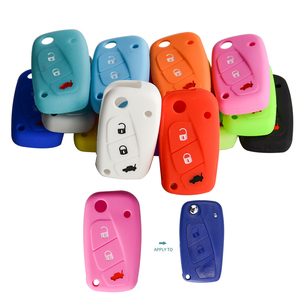 Image 2 - OkeyTech New Styling Colorful Silicone Key Cover for Fiat 500  Panda Stilo Punto Doblo Grande BravoDucato Folding Car Key Shell