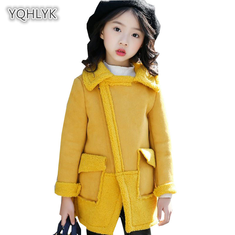 Children autumn winter girls new coat Korean thickening lamb hair girl jacket cotton long fashion kids Parkas coats LK141 girls coat autumn and winter thickening children s fur 2018 new korean version of the girl warm jacket children coats fpc 169