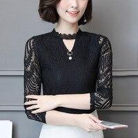 2017 Autumn Women Lace Blouse Long Sleeve Fashion Blouses and Shirts Crochet Blusas Casual Female Clothing Plus Size Femme Tops 1