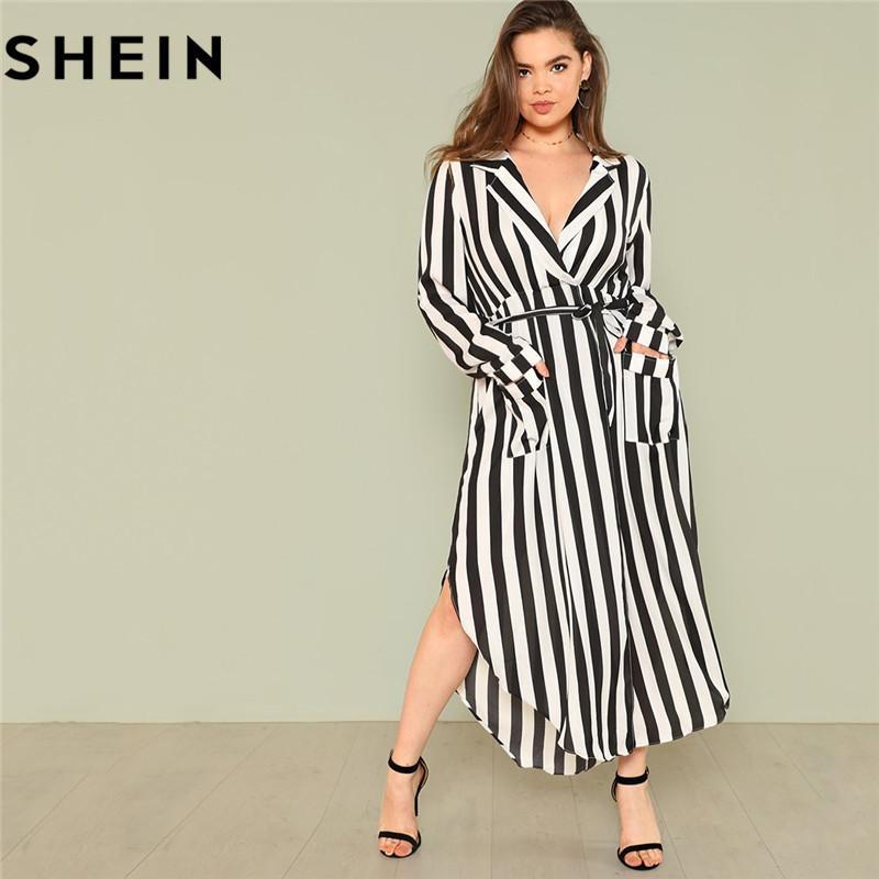 131e788d53 SHEIN Black And White Stripe V Neck Belted Plus Size Maxi Dress Spring Fall  Office Lady High Waist Split Side Striped Dresses