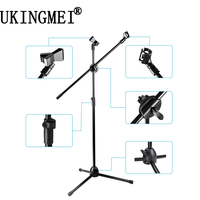 NB 001 Professional Dual Microphone Stand Tripod High Arm Holder Clip Mount Clamp Music Microphone For Record Recording Mikrofon