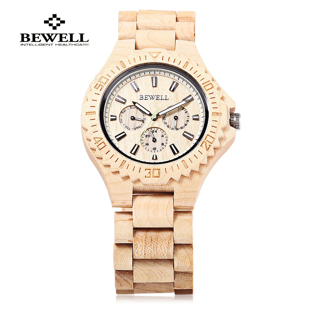 BEWELL Multifunction Wood Quartz Watch Men Clock Wristwatch With Three Work Sub-Dail Mens Sport Watches Relogio Masculino 116B bewell natural wood watch men quartz watches dual time zone wooden wristwatch rectangle dial relogio led digital watch box 021c