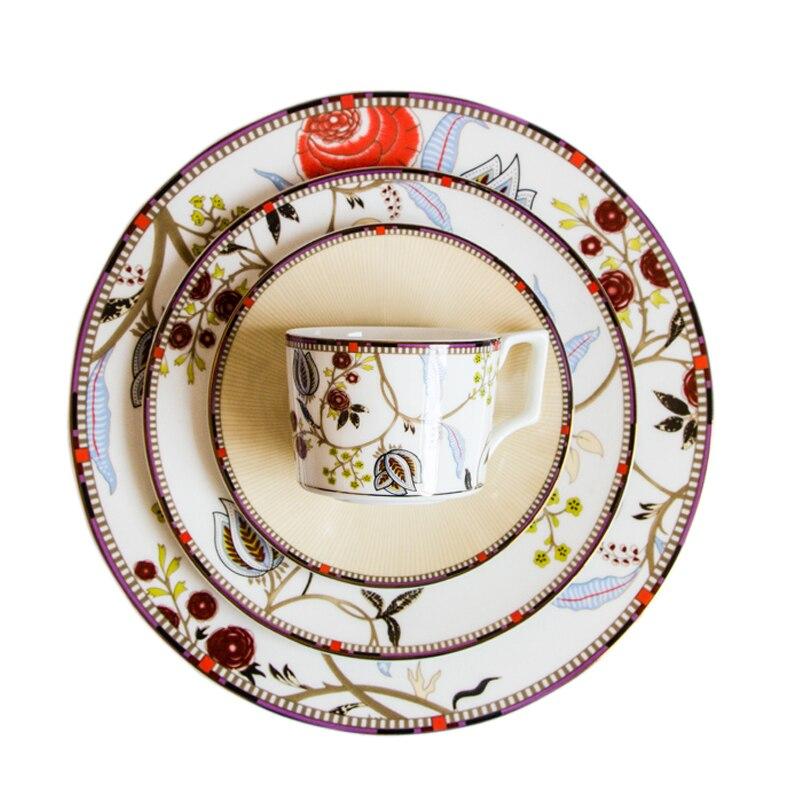 Nouveauté Bone chine dîner assiette ensemble en céramique tasse et soucoupe rétro vaisselle Steak plats café thé tasse Dessert plateaux 1 pièces