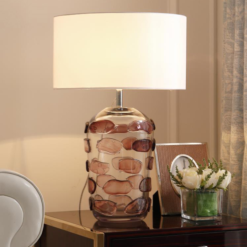 Us 204 68 14 Off Modern Art Deco Glass Led Table Lamps Living Room Tv Background Decorative Light Study Bedroom Table Light With Fabric Lampshade In