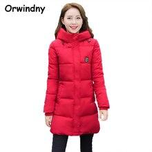 Сгущает студент зимняя капюшоном хлопка куртка одежды длинные женский красный тонкий