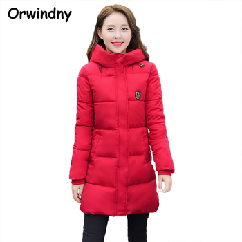 2017 New Fashion Long Winter Jacket Women Slim Female Coat Thicken Parka Cotton Clothing Red Clothing Hooded Student