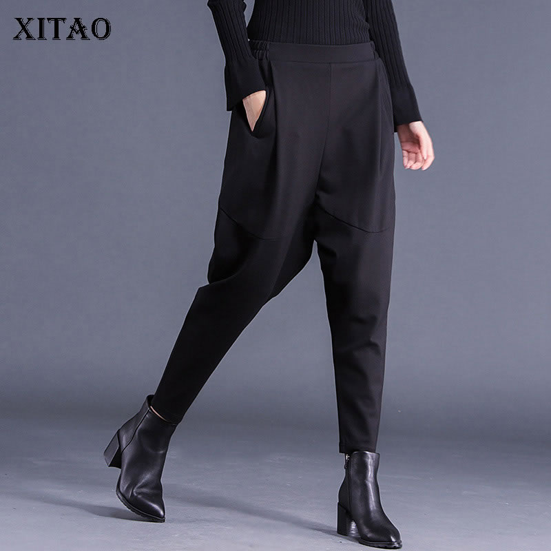 XITAO Women Autumn Korea Fashion Elastic Waisted Harem Pants Female Solid Color Solid Coloe Casual