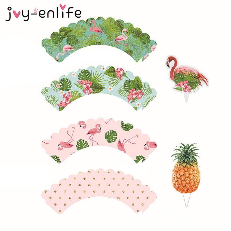 JOY-ENLIFE 24pcs Cartoon Flamingo Cupcake Wrappers Baby Shower Birthday Wedding Party Hawaii Beach Summer Pool Decor Supplies