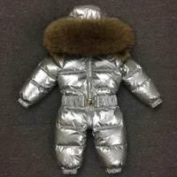 Детские Комбинезоны бренд 2018 новый бренд новорожденных Пуховики с воротником из меха енота комбинезон для маленьких мальчиков комбинезон