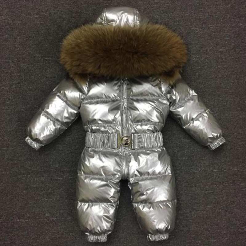 Baby rompers Brand 2018 New brand winter newborn down jackets Raccoon fur collar overall kids boys girls jumpsuit clothing 0-6T женский комбинезон brand new v jumpsuit