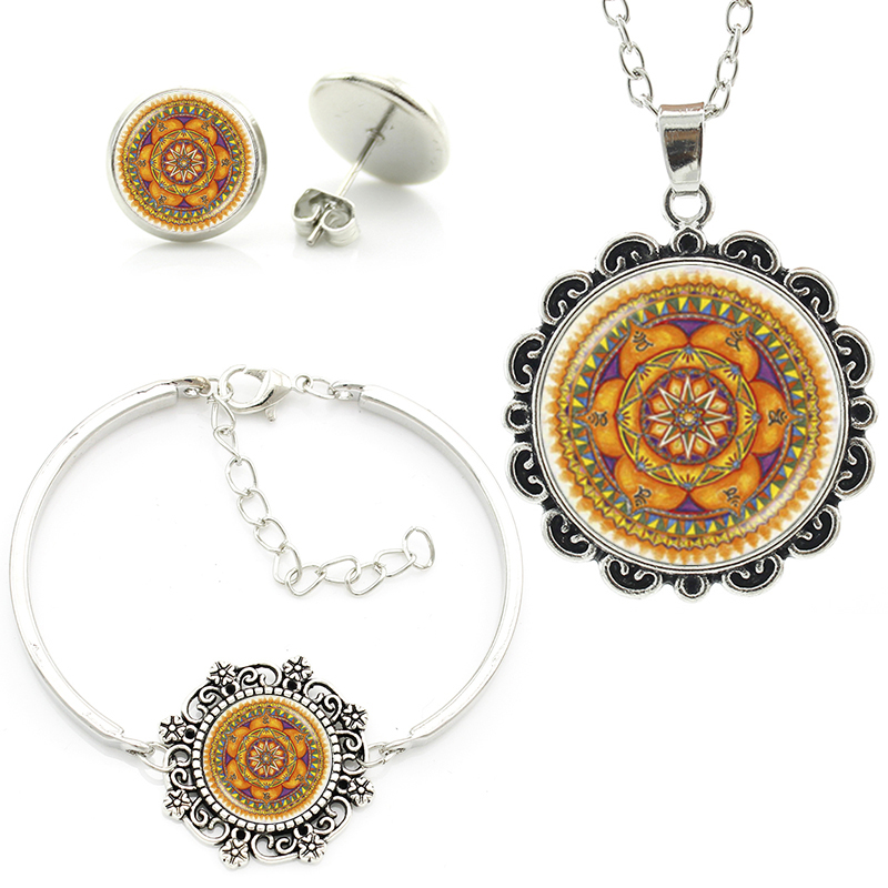 Fashion orange buddhist meditation Om life tree sun photo necklace earrings bracelet mandala yoga chakra women jewelry set HT202