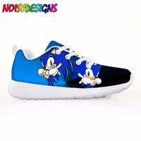 Cartoon Style Girls Casual Sneakers Flats Pretty Sonic the Hedgehog Comfortable Kids Shoes for Child Light Weight Student