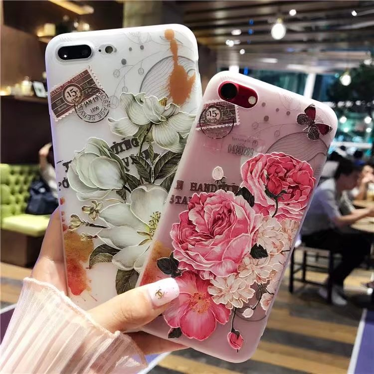 Luxury 3D Reliefs Floral Phone Case For iPhone 6 Case iPhone 8 Colorful Flower TPU Soft Silicone Cover For iPhone 7 Plus 6s 8 P