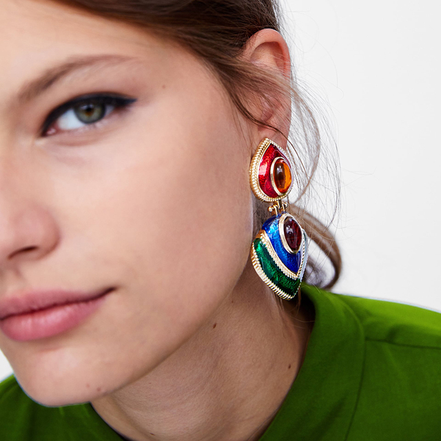 Dvacaman ZA Colorful Metal Enamel Earrings Women Crystal Drop Earrings Statement Jewelry Bohemian Accessory Love Christmas Gifts