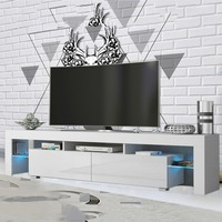 Newest High Glossy Modern TV Unit Family TV Cabinet Desk Table Stand Home Furniture Decoration 2000*350*450mm Free LED