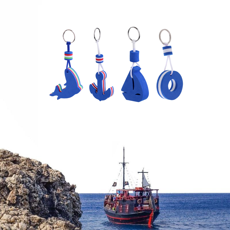 4 Pieces Sailing Floating Key Chain Boat Float Marine Keys Ring Holder Buoyant  Floating Keychain Inflatable Boats Accessories