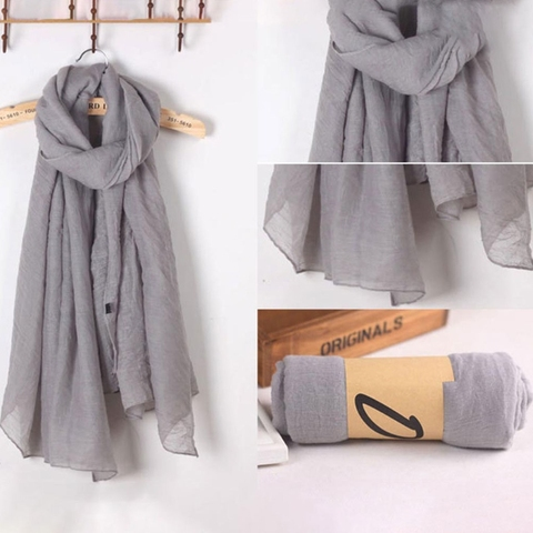 2018 Fashion New 16 Colors Women Long Scarf Wrap Scarves Vintage Cotton Linen Large Shawl Hijab Elegant Solid Black Red Whi Lahore