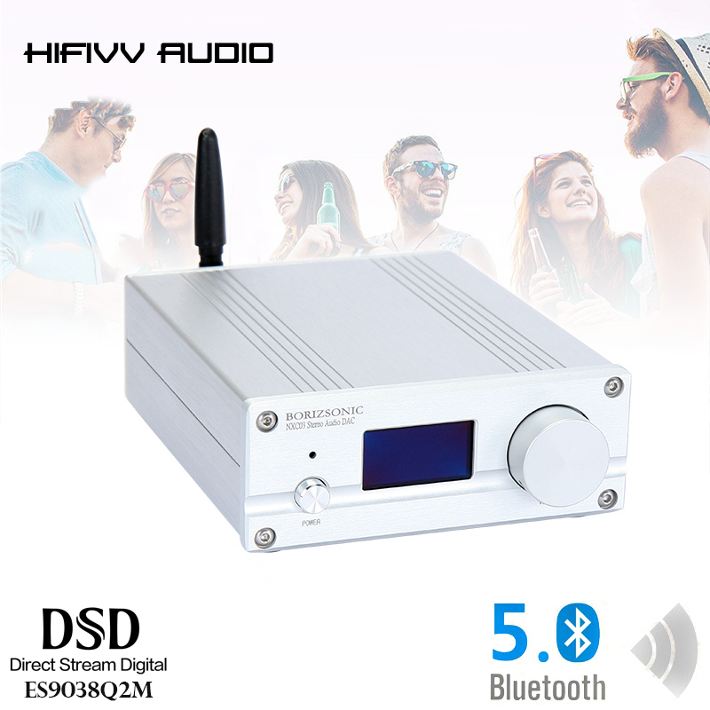 HIFI DAC with Bluetooth 5.0 ES9038Q2M Support DSD PCM Coaxial Fiber XMOS XU208 USB XMOS Audio Decoder Stereo APTX HD MINI AMP