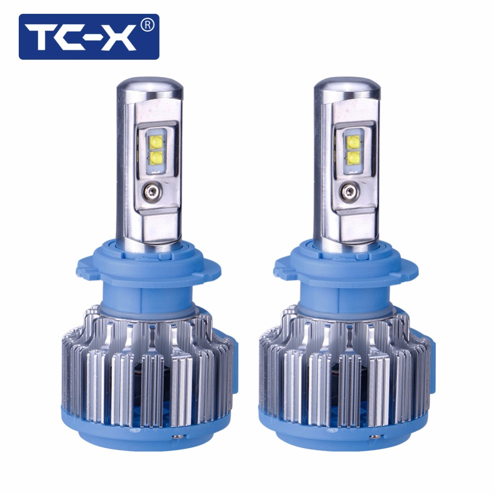 TC-X 2PCS /Pair Car LED H7 Headlights Conversion Kit 12V Car Light Bulbs Super Bright All in One Auto Lights with Cooling Fans 2pcs x7 led car headlights led 80w 7200lm 880 super bright cree led ledheadlight all in one conversion kit 6000k pure white