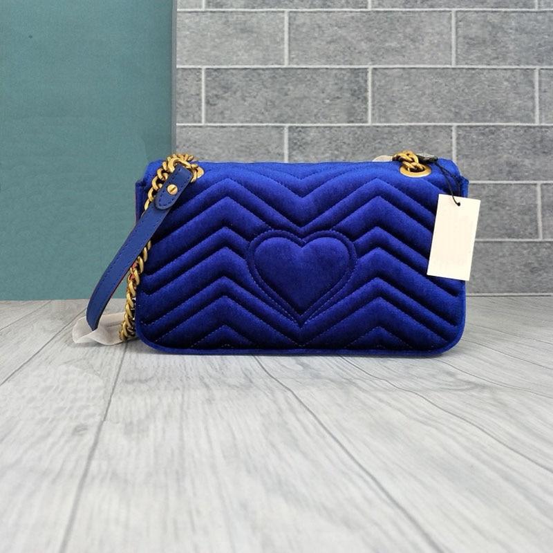 Célèbre marque à la mode de velours sac à main des femmes 2018 qualité supérieure Coeur en forme de suture sac de messager femmes chaînes Bandoulière sacs