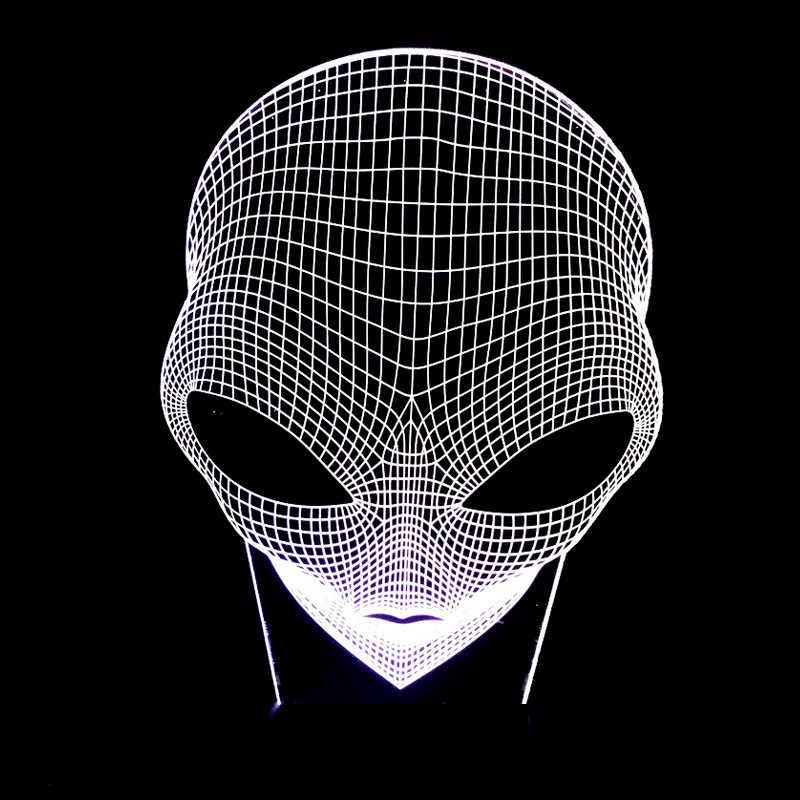 Kreatywny Pop-oczy obcych kształt lampy akrylowe kostium noc światła 7 kolory zmiana usb zasilany energią słoneczną lampa stołowa dotykowy światła marsa