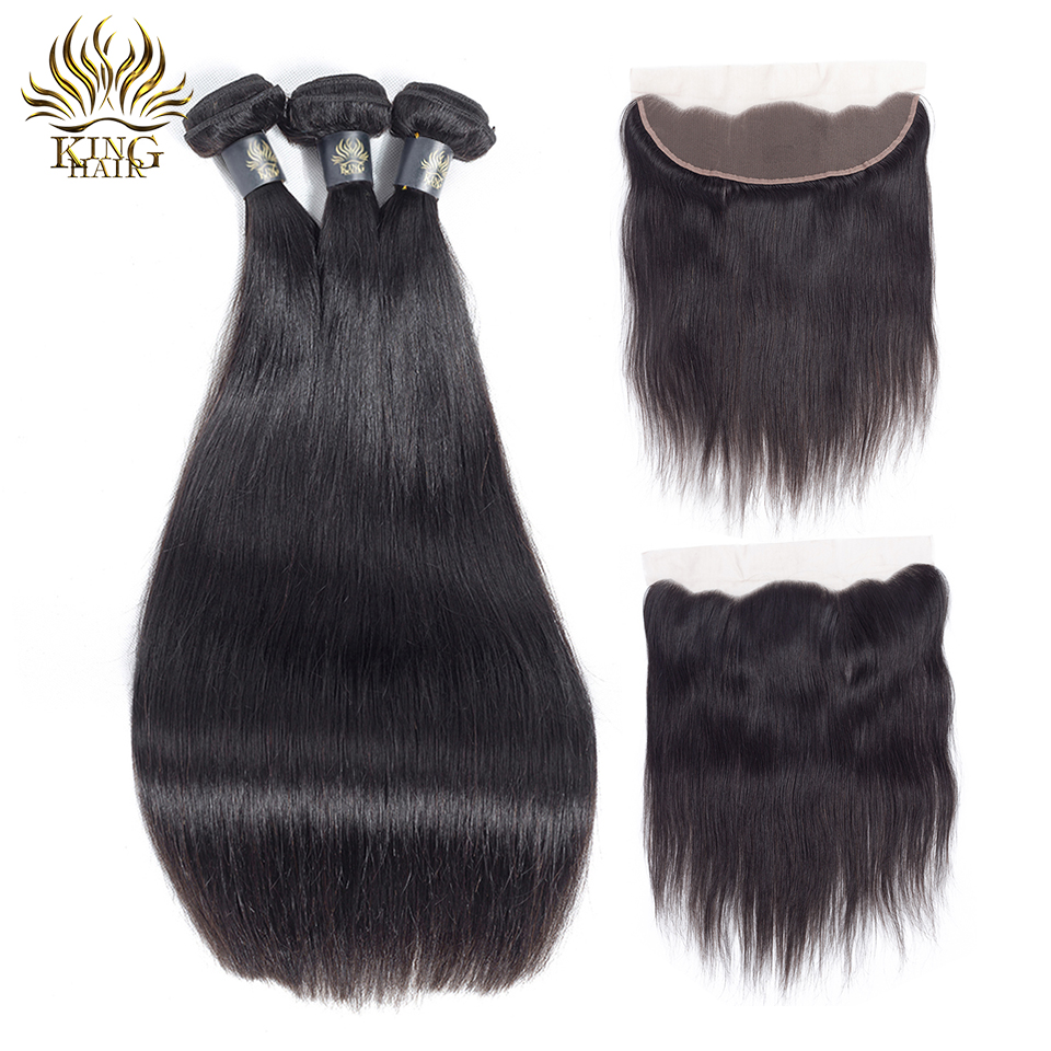 King Hair Brazilian Straight Hair Weave Bundles Lace Frontal Closure With Bundles Remy Human Hair 3