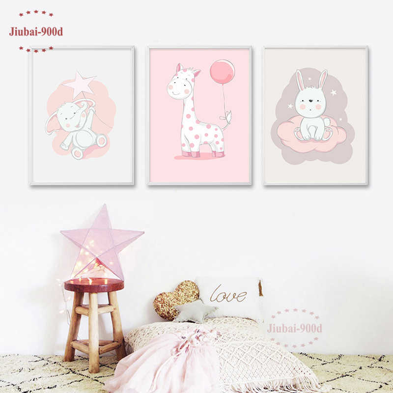 Cartoon Kids Room Decoration Animal Posters and Prints Canvas Painting Nursery Wall Art Decorative Elephant Rabbit Picture NUR06