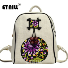 ETAILL 2018 National Trend Ethnic Embroidery Canvas Backpack Handmade Flower Embroidered Travel Bags Schoolbag Mochila