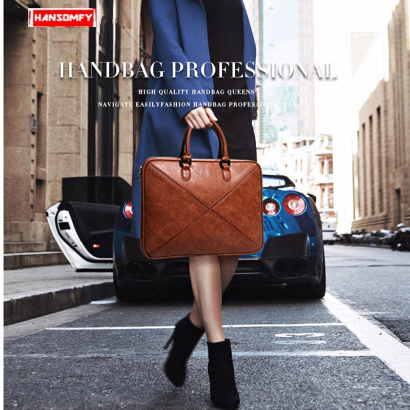 2019 New Women briefcase thin section business 14 Laptop computer leather handbag female shoulder notebook messenger