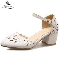 SGESVIER Women Sandals 2018 New Summer Shoes Thick Heel Ankle Strap Snadals Women Med Heel Buckle