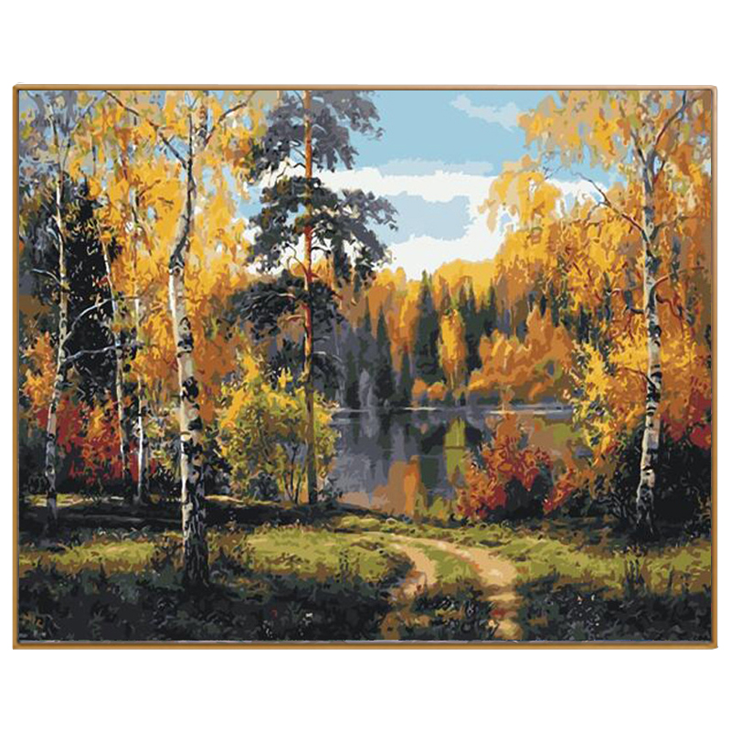 PHKV Painting Colorings By Numbers Autumnal Forest Painting By Numbers Kits Diy Oil Painted On Canvas For Home Decro Wall Arts
