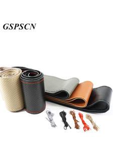 GSPSCN Steering-Wheel-Cover Genuine-Leather Braid Anti-Slip DIY Car Soft with Needles-Thread