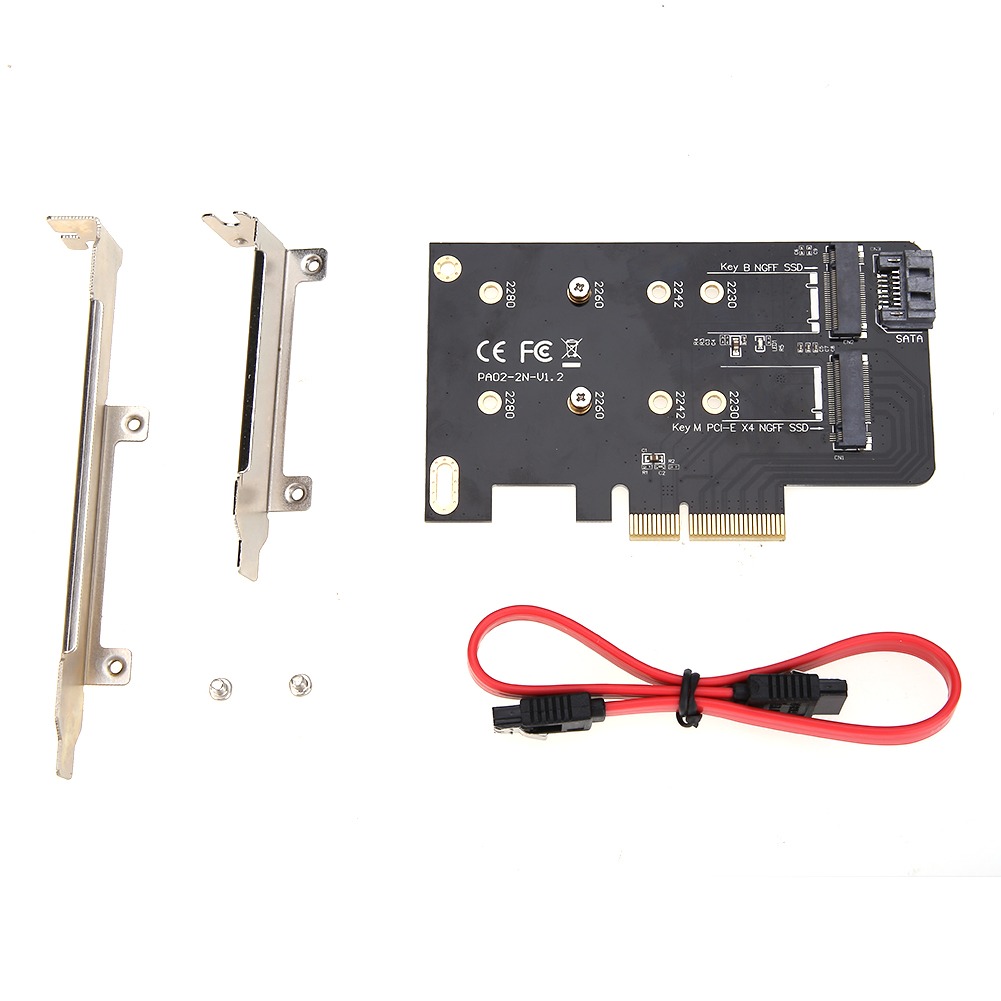 Adapter Converter Card Hard Disk SSD Adapter HDD Hard Drive Covnerter Card of M key PCI-EX4 and B key for M.2 NGFF SSD 2 Slots