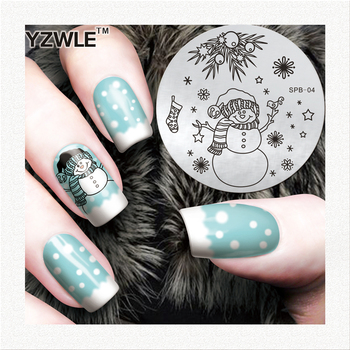 Flower Christmas Vintage Pattern Stamping Nail Art Image Plate 5.6cm Stainless Steel Template Polish Manicure Stencil Tool SPB04 image