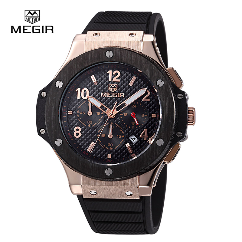 MEGIR Official Date Men's Watch 3 Workable Sub-dials Quartz Sport Watch Military Men Wristwatch Waterproof relogio masculino