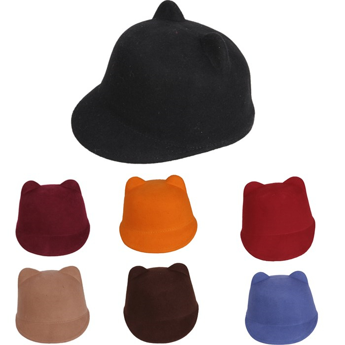 New Fashion 100% Wool Women's Fedora Hat Autumn Winter mickey Cat ear animal Cap  IN Stock