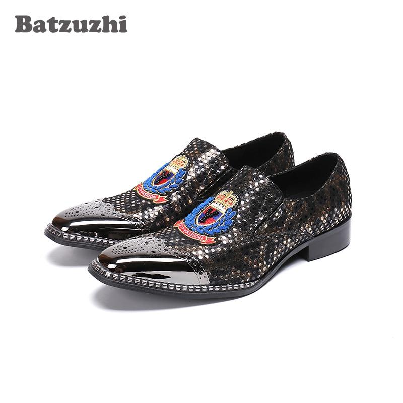 все цены на Batzuzhi Metal Toe Mens Shoes Black Leather Men's Dress Shoes Print Pattern Designer's Formal Shoes Men Party and Wedding, US12 онлайн