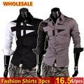 Wholesale 3 pcs NEW Mens Fashion Cotton Designer Cross Line Slim Fit Dress man Shirts Tops Western Casual S M L XL 8397