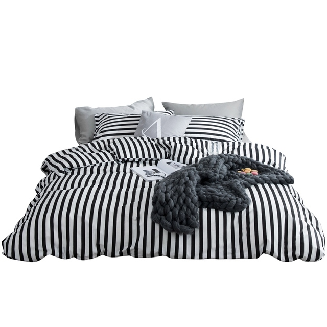 Tutubird White And Black Striped Bed Linen Sheet 100 Cotton Brief