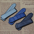 Special Design Genuine Leather Watch Band Strap for mens Watch Dark blue Grey Watch Strap without buckle width 25*19mm