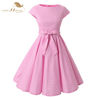 Plus Size Women Clothing Audrey Hepburn 50s Vintage Robe Rockabilly Dresses Summer Style Retro Swing Casual