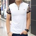 2016 Verão Novo Polo Homme Moda impressão Camisa Polo Homens Camisetas hombre Slim Fit Short-manga de Fitness personalizado Tee