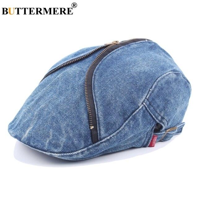 BUTTERMERE Men Denim Ivy Caps Adjustable Retro Spring Autumn Male Berets  Hats With Zipper Gatsby Stylish Fashion Jeans Flat Cap 9b10e7355b1