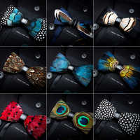 RBOCOTT Feather Bow Ties Men's Luxury Bowtie With Box Fashion Peacock Feather Bow Ties For Men Business Party Wedding