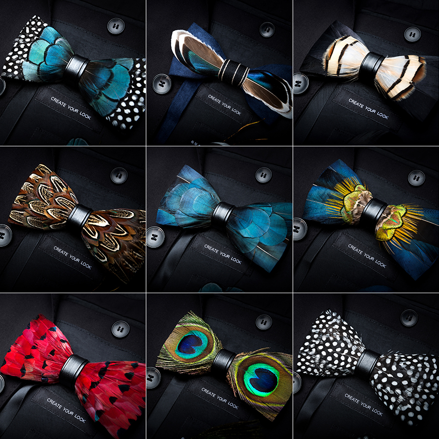 RBOCOTT Leather Bow Tie Men's Luxury Bowtie With Box Fashion Peacock Feather Bow Ties 12cm*6cm For Men Business Party Wedding